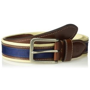 Tommy Hilfiger Canvas Leather Inlay Belt NWOT 36